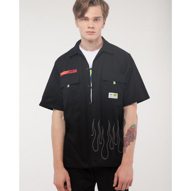 Рубашка с коротким рукавом ЮНОСТЬ «Запрещено» рефлектив Черный