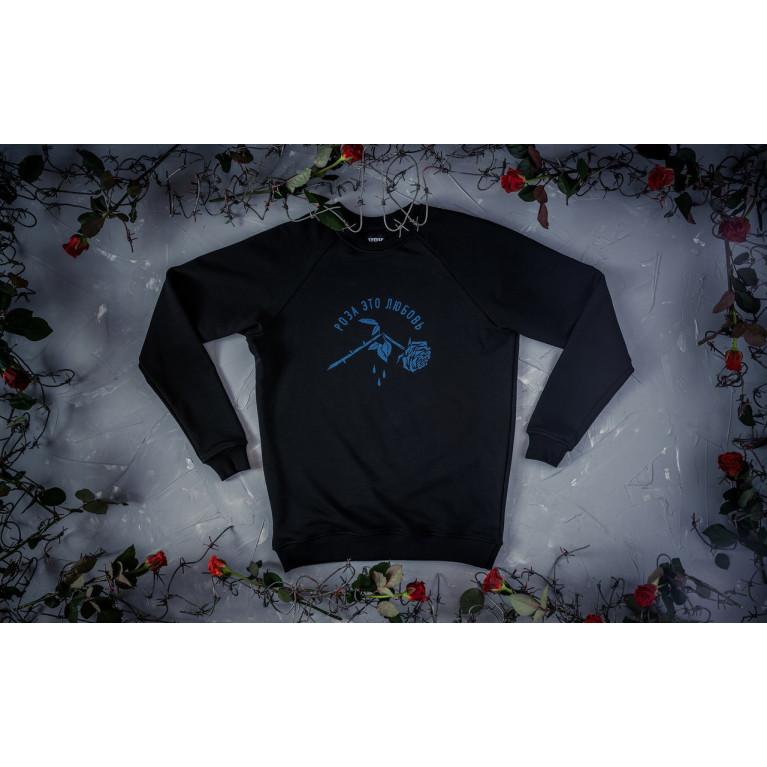 Свитшот «Роза» принт синий рефлектив