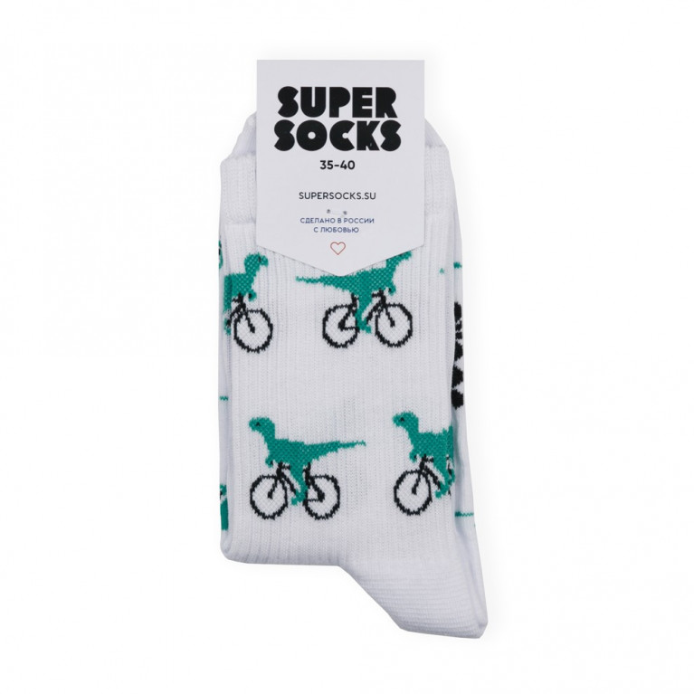 Носки SUPER SOCKS Велоцираптор  Белый