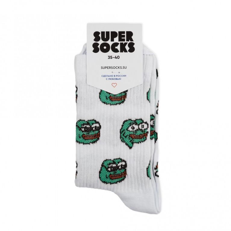 Носки SUPER SOCKS Лягушонок Пепе 2019  Белый