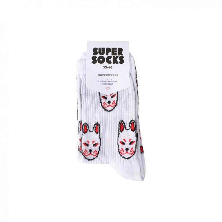 Носки SUPER SOCKS Маска Кицунэ Паттерн носков  ЦВЕТ Белый